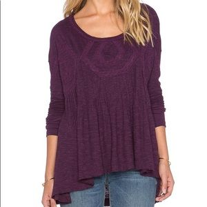 Free People Purple Tunic Large Long Sleeve